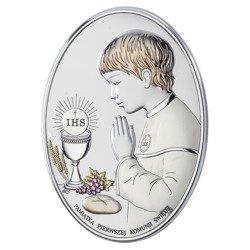 Obrazek Srebrny Pamiątka I Komunii dla chłopca owal z podpisem kolor DS05CO