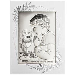 Obrazek Srebrny Pamiątka I Komunii dla chłopca prostokąt z podpisem Dono DS04FOO