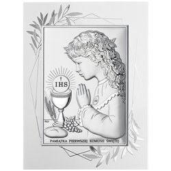 Obrazek Srebrny Pamiątka I Komunii dla dziewczynki prostokąt z podpisem DS04FOA