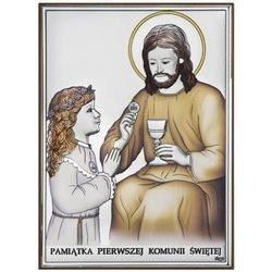 Obrazek Srebrny Pamiątka I Komunii dla dziewczynki prostokąt z podpisem DS45CA