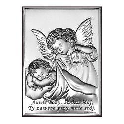 Obrazek srebrny Aniołek z latarenką z podpisem 6442