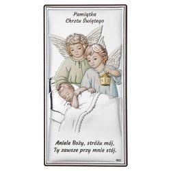 Obrazek srebrny Aniołki z latarenką nad dzieckiem DS21C