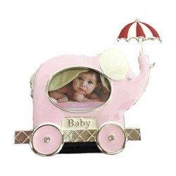 Ramka dziecięca z masy perłowej - różowa, słoń z parasolem 473-3344
