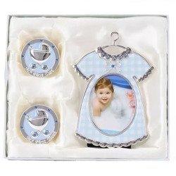Ramka + puzderka na pierwszy ząbek oraz pukiel włosów, niebieska, sukienka 473-3281