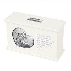 Skarbonka Pamiątka Chrztu Świętego - biała 3647B