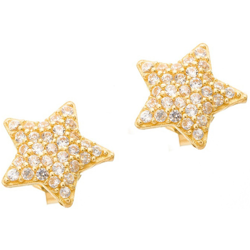 Złote kolczyki pr. 585 Gwiazda cyrkonie sztyft ZA043