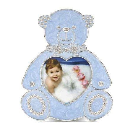 473-3304 Ramka dziecięca z masy perłowej - niebieska, miś
