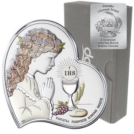Obrazek Srebrny Pamiątka I Komunii dla dziewczynki Serce z podpisem kolor DS03CA