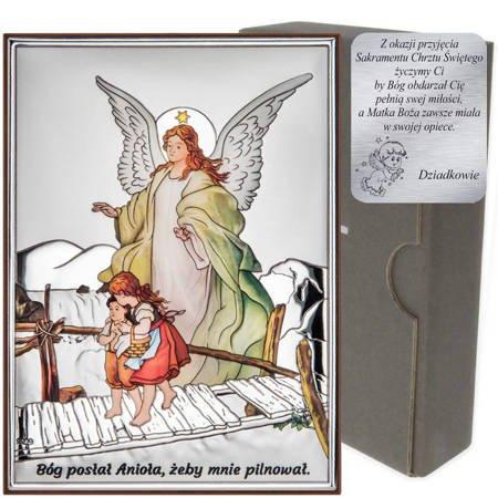 Obrazek srebrny Anioł na kładce Pamiątka Chrztu Świętego DS42C