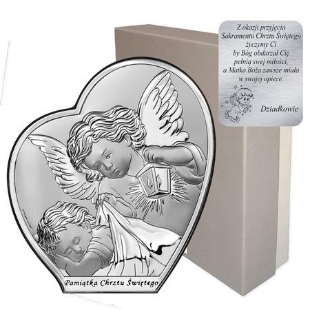 Obrazek srebrny Aniołek nad dzieciątkiem z latarenką Pamiątka Chrztu Świętego 6591SB