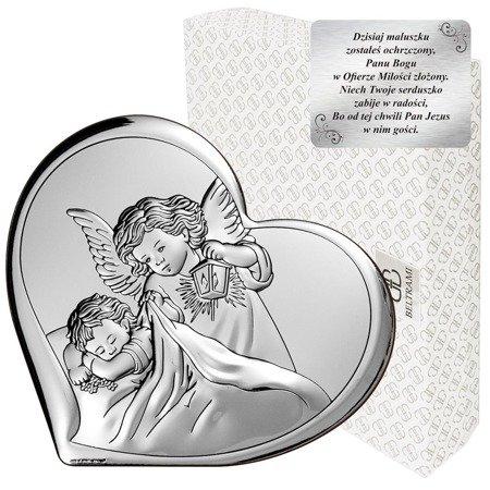 Obrazek srebrny Aniołek z latarenką na Chrzest Święty 6448