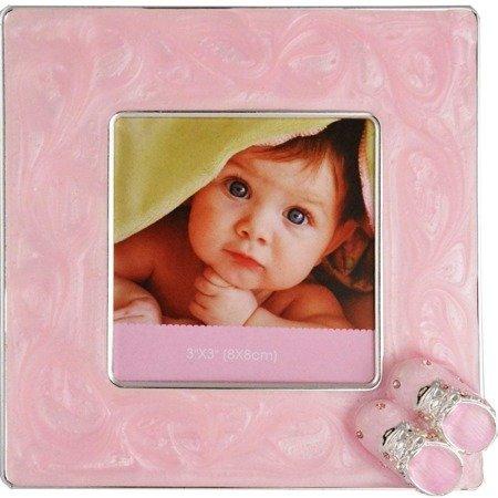 Ramka dziecięca z masy perłowej - różowa, buciki 473-3209