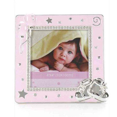 Ramka dziecięca z masy perłowej - różowa, buciki 473-3326