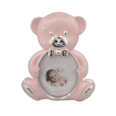 Ramka dziecięca z masy perłowej - różowa, miś 473-3235