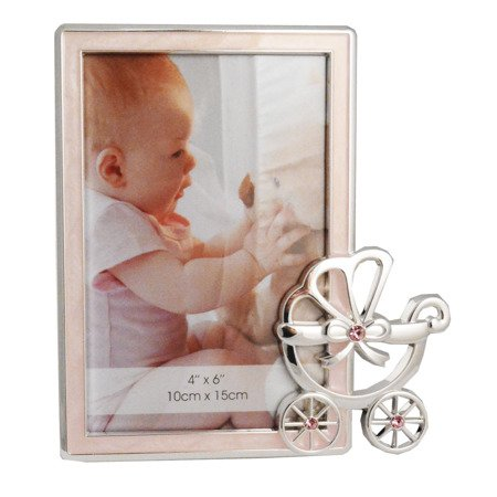 Ramka dziecięca z masy perłowej - różowa, wózek 473-3161