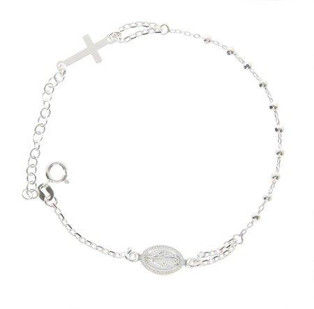 Różaniec srebrny - bransoletka na rękę, dziesiątka diamentowana, 2,7-3,4 g, srebro pr. 925 BRS41