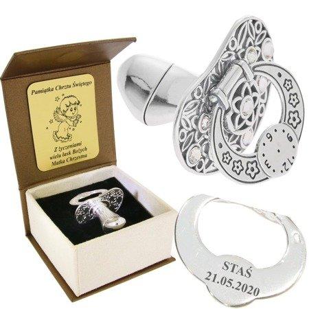 Smoczek srebrny  z zegarem BIAŁE CYRKONIE pr 925 SM15/BA-3 OTWIERANY MIEJSCE NA PIERWSZY ZĄBEK