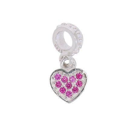 Srebrna przywieszka pr 925 Charms serduszko wiszące różowe cyrkonie PAN072