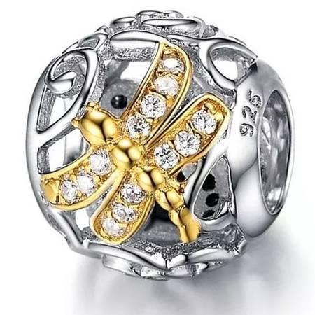 Srebrna przywieszka pr 925 Charms srebrna kulka złota ważka cyrkonie PAN175