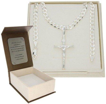 Zestaw srebrny łańcuch szer. 5,2 mm z krzyżykiem + GRAWER MO102/GZP1156L/P3