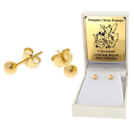 Złote kolczyki pr. 585 kulka Średnia sztyft ZA005/PDH-3/NA/A1/G
