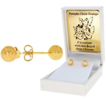 Złote kolczyki pr. 585 kulka bardzo duża sztyft ZA006/PDH-3/NA/A1/G