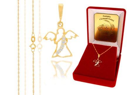 Złoty komplet pr. 585 anioł ZP006/ZL004/P7/FLOKCZERW/GZ