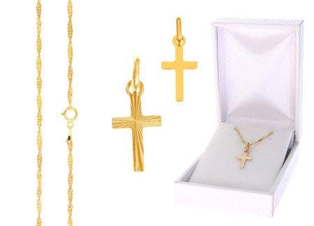 Złoty komplet pr. 585 krzyżyk łańcuszek ZK002/ZL004/PDH-3/A1/GZ