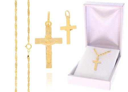 Złoty komplet pr. 585 krzyżyk łańcuszek ZK008/ZL004/PDH-3/A1/GZ