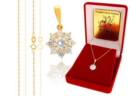 Złoty komplet pr. 585 kwiat ZP029/ZL004/P7/FLOKCZERW/GZ