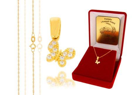 Złoty komplet pr. 585 motyl ZP012/ZL004/P7/FLOKCZERW/GZ