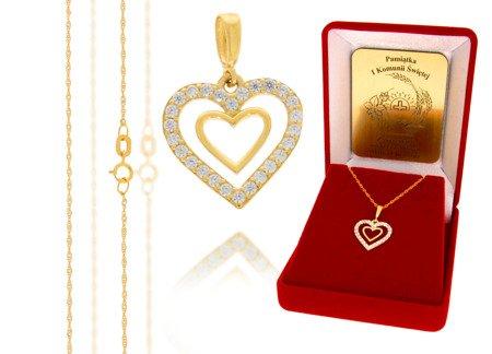 Złoty komplet pr. 585 serce ZP004/ZL004/P7/FLOKCZERW/GZ