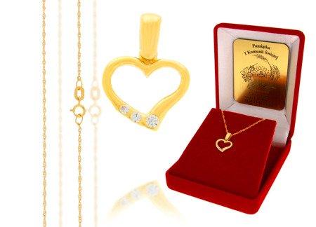 Złoty komplet pr. 585 serce ZP011/ZL004/P7/FLOKCZERW/GZ