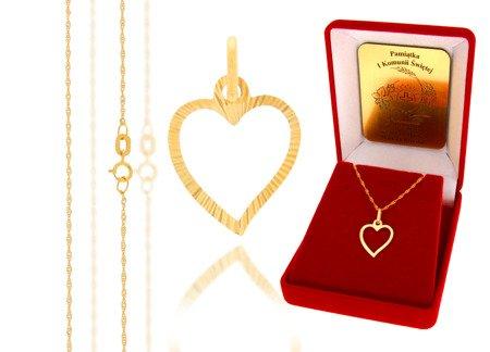 Złoty komplet pr. 585 serce ZP025/ZL004/P7/FLOKCZERW/GZ