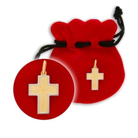 Złoty krzyżyk pr. 585 Krzyż srebrna ramka ZK025