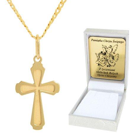 Złoty łańcuszek z krzyżykiem pr. 585 ZK043/ZL013-45/PZH-3/A1/GZ