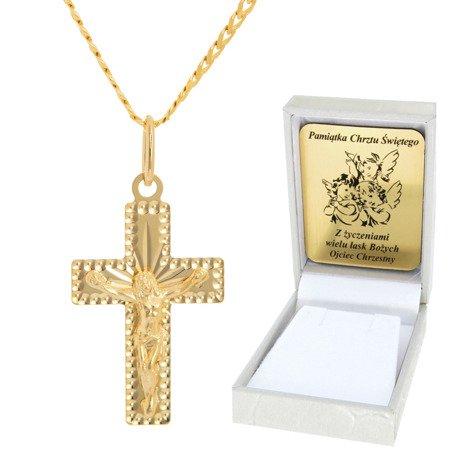Złoty łańcuszek z krzyżykiem pr. 585 ZK048/ZL013-45/PZH-3/A1/GZ